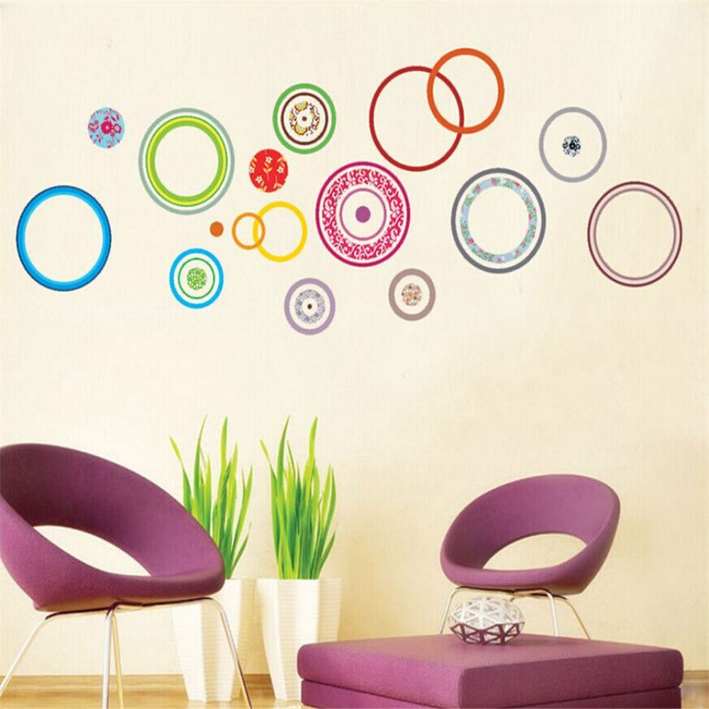 pas cher cercles color s chambre d corer enfants chambre stickers muraux pour enfants chambres. Black Bedroom Furniture Sets. Home Design Ideas