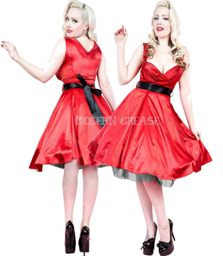 54a15a5e7a7 Modern Grease Clothing and Accessories Co. - Satin Swing Red 50 s Dress