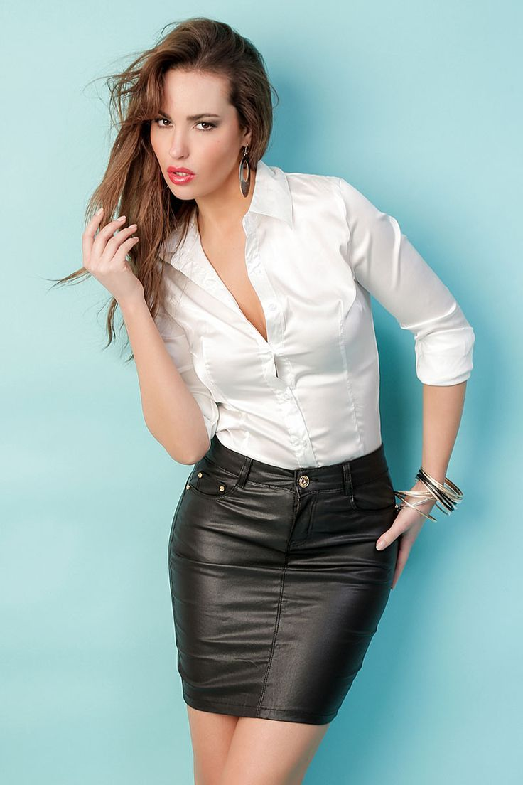 875e4ce085 The white blouse paired with the leather skirt is a great combination of  classy yet sexy.