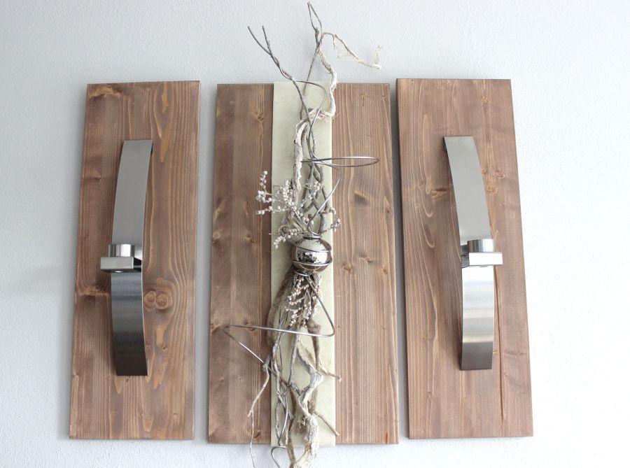 Cute WD u Exclusive Wanddeko Dreiteilige Wanddeko aus gebeizten Holz Dekoriert mit Edelstahlleisten Filzband