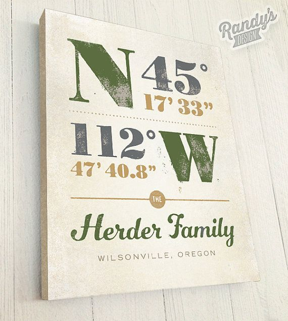 Custom Canvas, Personalized Latitude and Longitude Coordinates ...