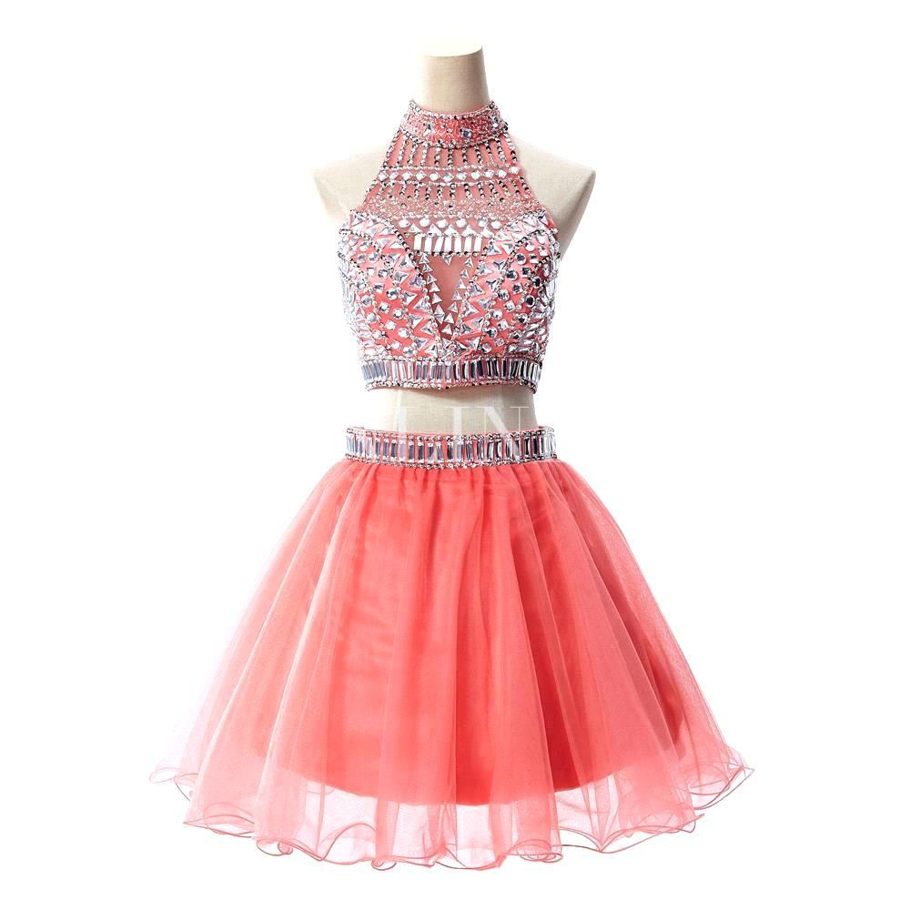 Fashion high neck crystal short prom dresses sexy see through coral