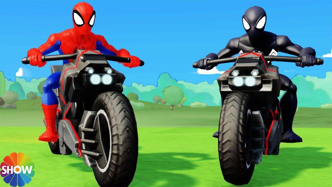 kids games Spiderman Songs & Venom Funny race with big Elephants + ...