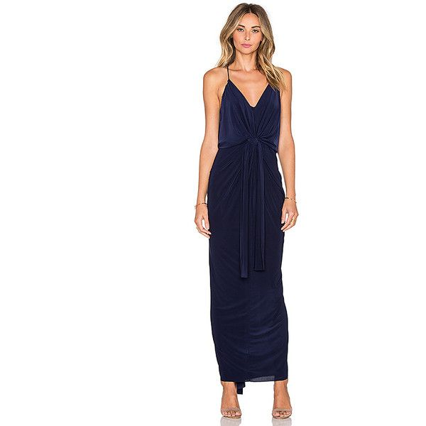 T-Bags LosAngeles Twist Front Maxi Dress Dresses ($202) ❤ liked on Polyvore featuring dresses, blue draped dress, maxi dress, tie waist dress, draped dress and t-bags los angeles