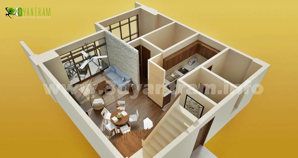 3d floor plan home design http 3d walkthrough rendering for Virtual house plans