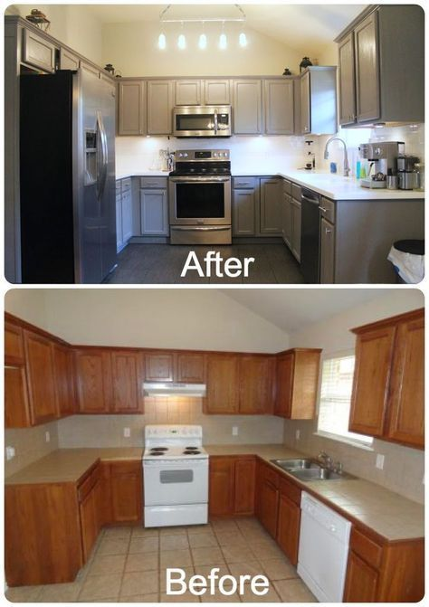 DIY Kitchen Re-Do. Rust-Oleum cabinet resurfacer painted with gray ...