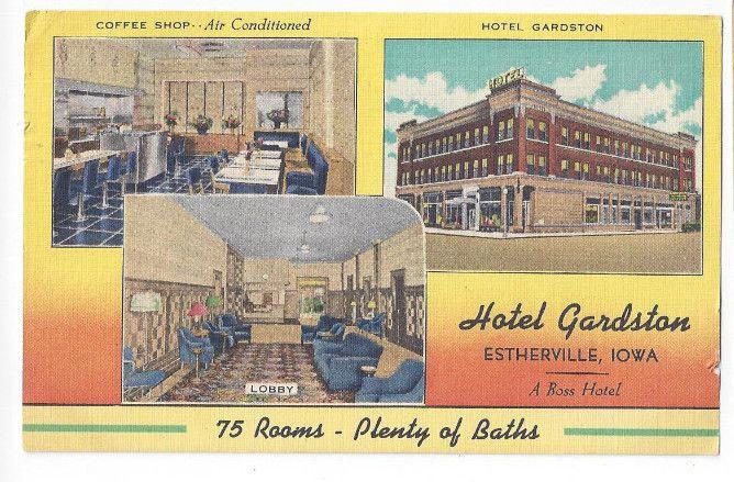 Ia Vintage 1954 Post Card Hotel Gardston Estherville Iowa