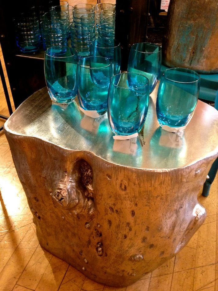 Painted Tree Stump Side Table Heavy Metal Funky