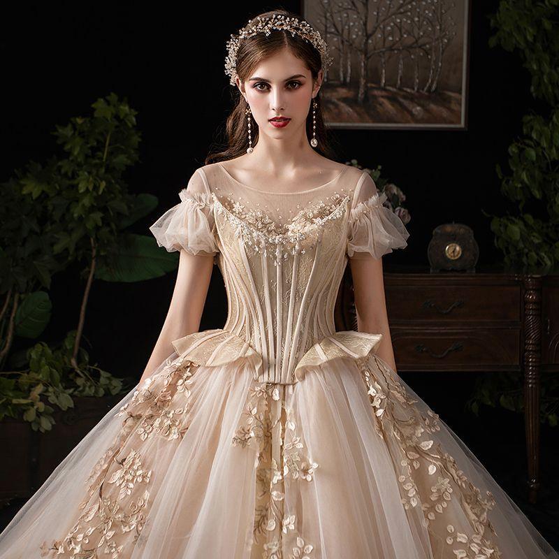 Wedding Dresses 2018 Couture Ball Gowns Elegant Royal: Luxury / Gorgeous Victorian Style Vintage / Retro