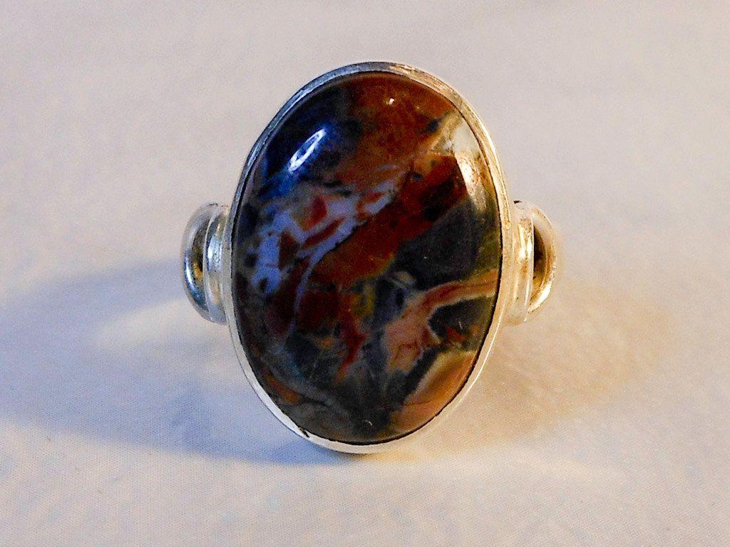 Oval Jasper Ring    Sterling Silver  Ocean Jasper  Size 7  Split Shank…