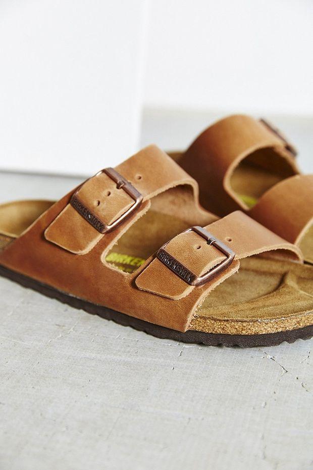 e6007ed51d3b8a Birkenstock Antique Brown Leather Arizona Slide Sandal - Urban Outfitters