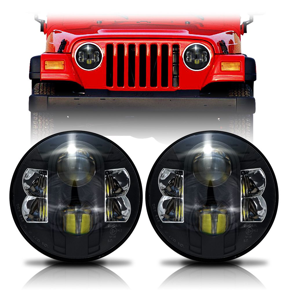 Apollo Black Projector Led Headlights For Wrangler 1996 2018 Led Headlights Headlights Jeep Wrangler Jk