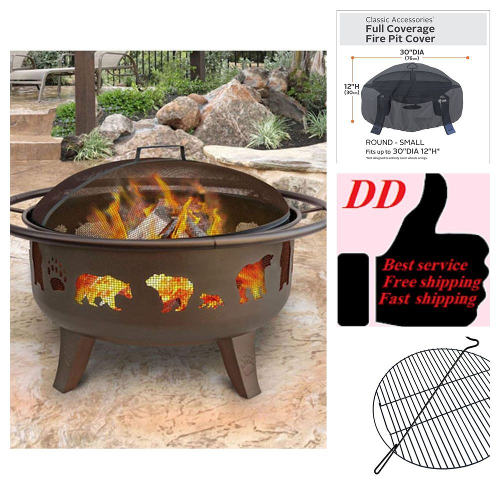 Dance Bear And Paw Fire Pit 30 Metallic Brown With Gift Waterproof Black Cover Landmann With Images Fire Pit Cover