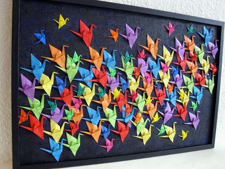Bevorzugt Défi février : Le vol des 100 grues (tableau collage origami  UQ34