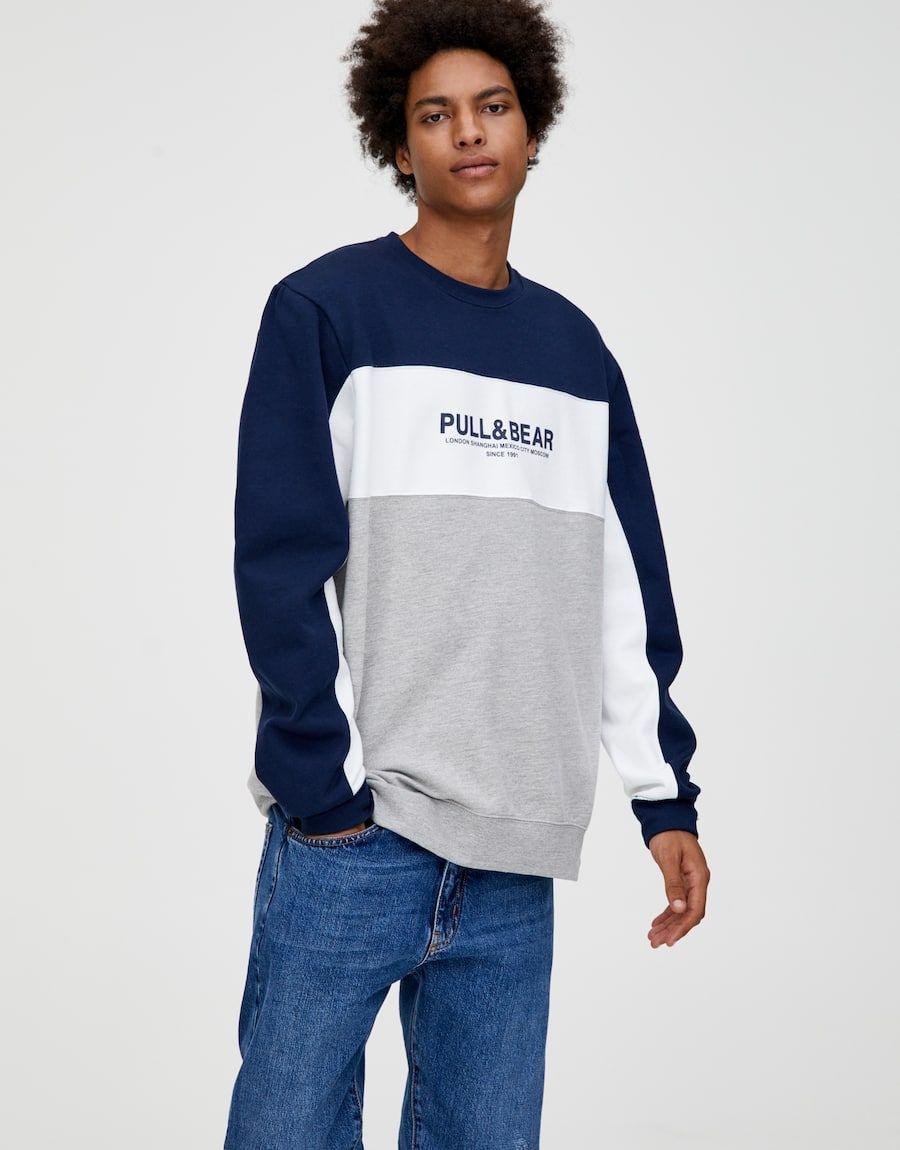 Pull Bear Logo Color Block Sweatshirt Navy Sweatshirts Mens Sweatshirts Hoodie Basic Sweatshirt [ 1150 x 900 Pixel ]