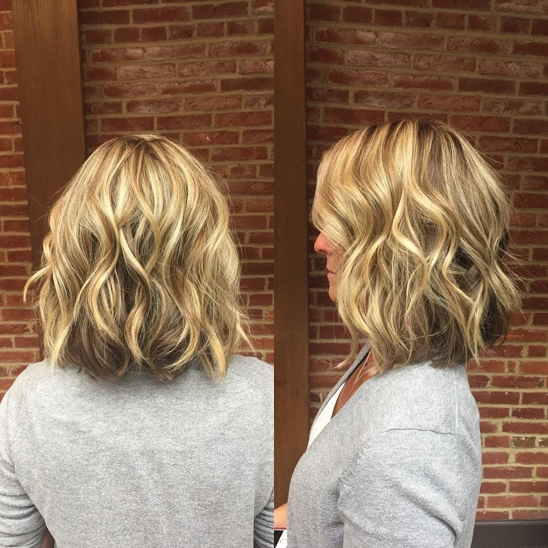 blonde wavy long bob with short