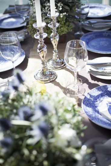 IGBY blue and white wedding table centrepiece and silver candle