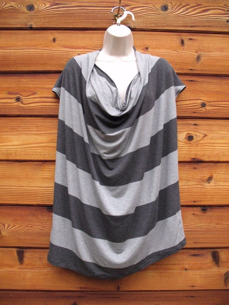 Cabi Top Blouse #620 Wide Stripe  XL Jersey Knit NEW Drape Front Gray on Gray #CAbi #KnitTop