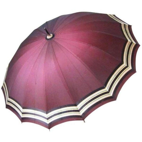 Vintage Dark Red Umbrella ($115) ❤ Liked On Polyvore Featuring Home,  Outdoors,