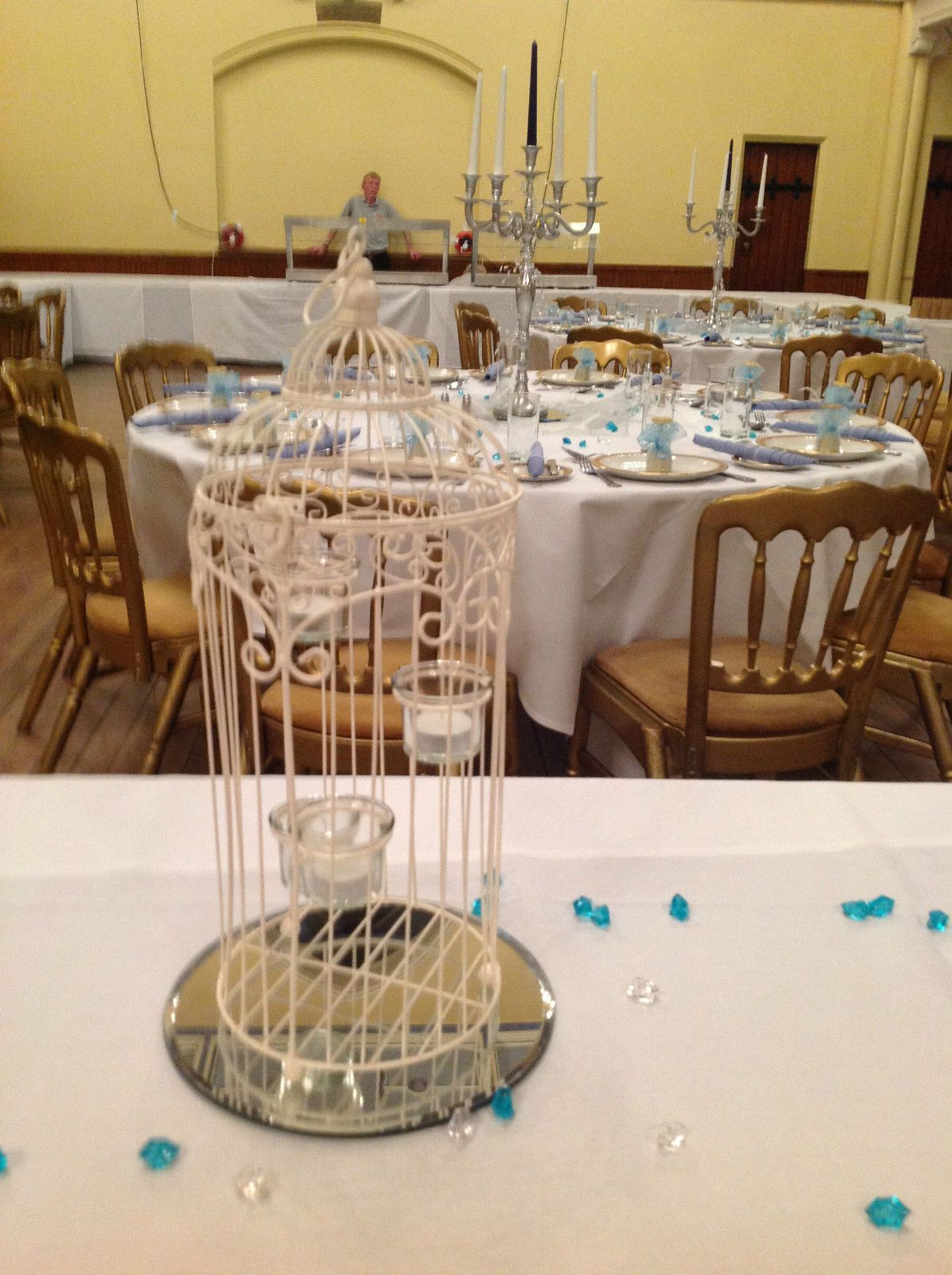 Cream wedding birdcage centrepiecetea light holders wedding table cream wedding birdcage centrepiece wedding table decorations for hire 500 ebay junglespirit Images