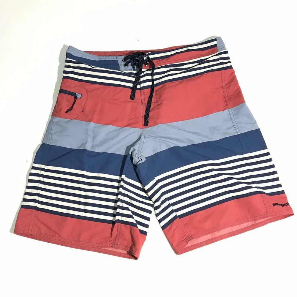c53a2af50d Patagonia Mens Swimming Shorts Size 33 Striped Multi Color Swim Trunks  Classic #fashion #clothing