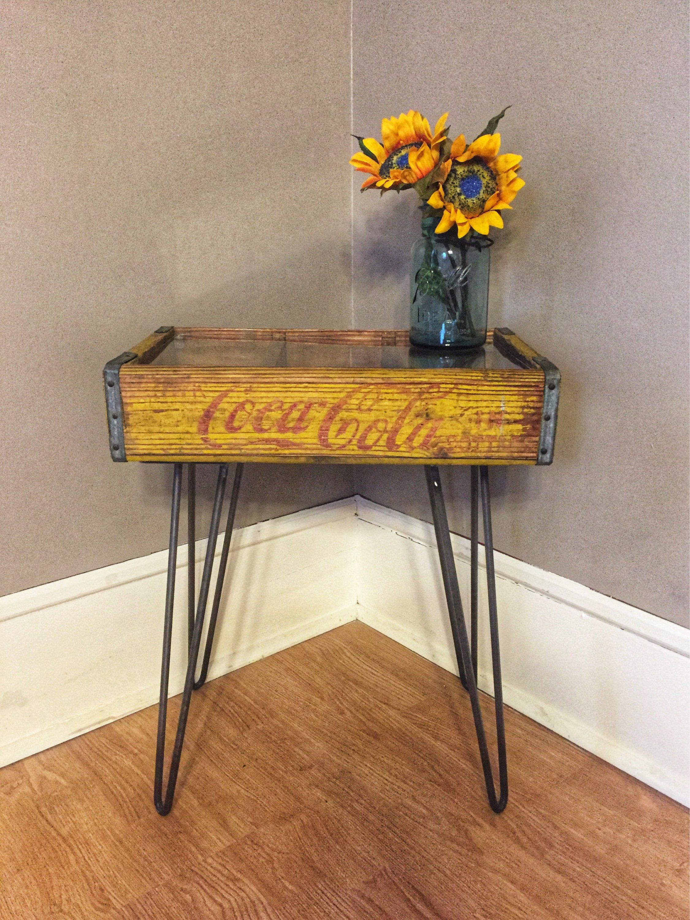 Upcycled reclaimed vintage yellow coca cola soda crate end table