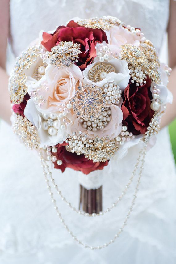 Custom Blush Burgundy Silk Flower Gold Brooch Bouquet, Pearl and ...