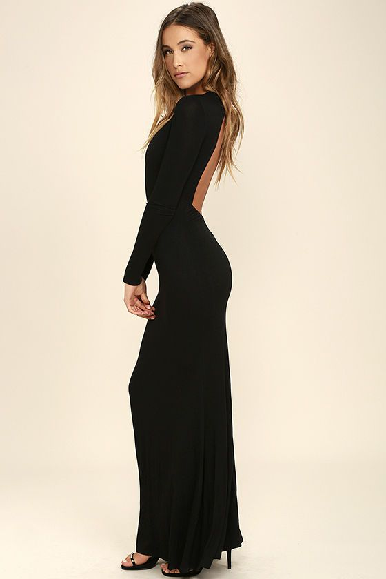 Up And Coming Black Long Sleeve Maxi Dress In 2018 Dress Me Pretty