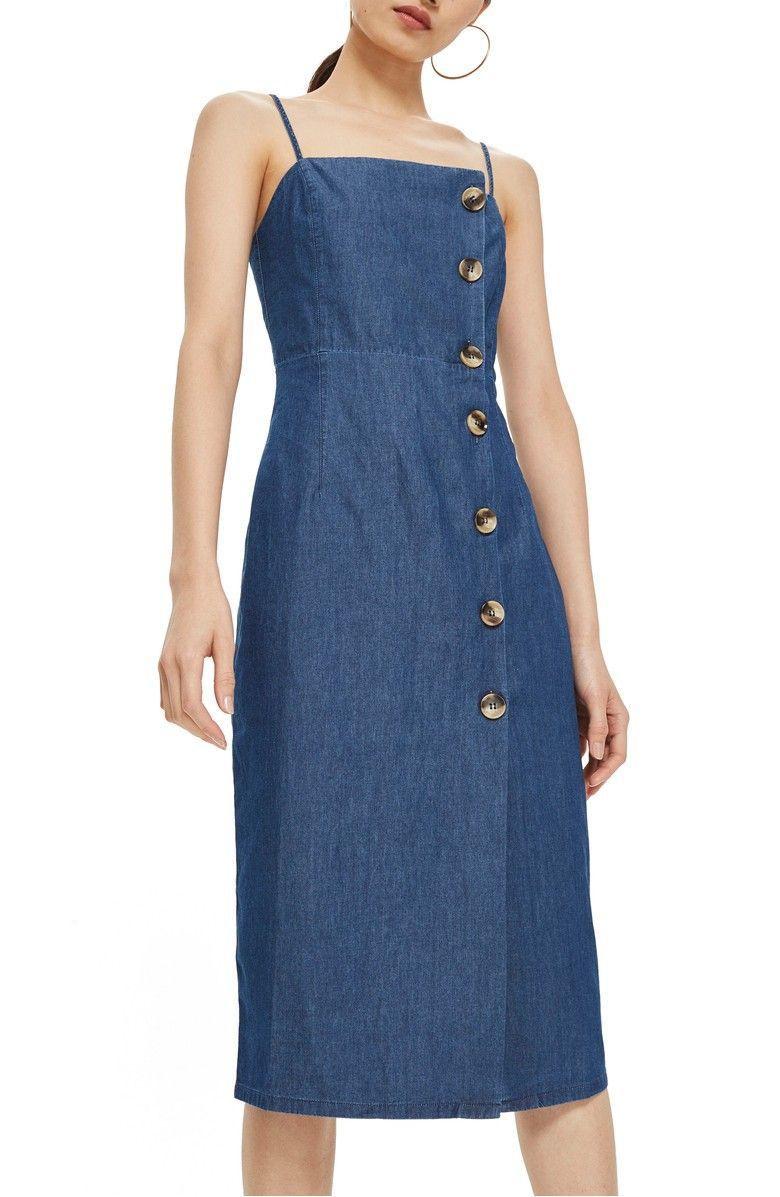 02fa1510dc7 Horn Button Midi Dress, Main, color, Mid Denim   Stitch Fix Style ...