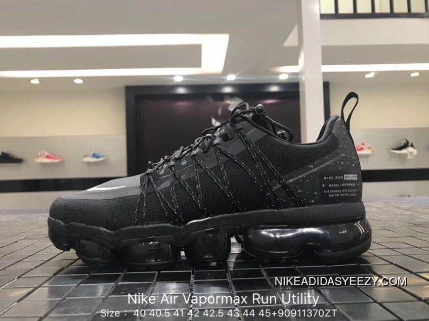 dc93571536a24 Nike Air Vapormax Run Utility 2018 849557-113 Triple Black Original Mens  Running Shoes Latest