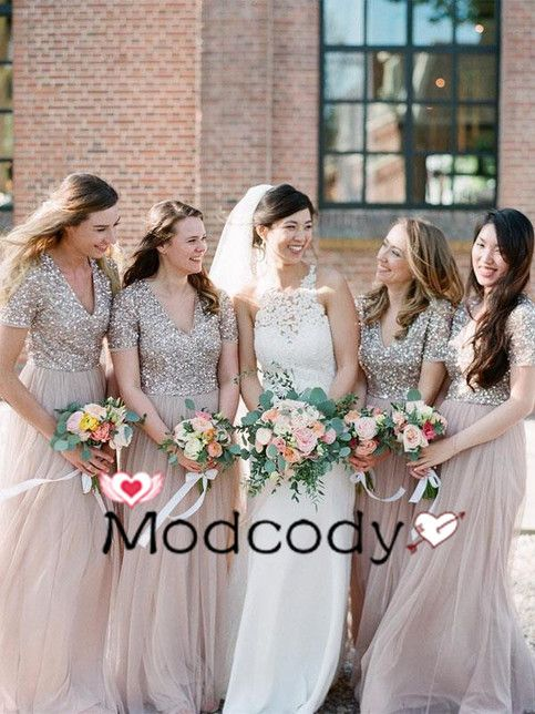 Gorgeous Champagne Sequined Long Bridesmaid Dress from Modcody -   17 dress Bridesmaid tulle ideas