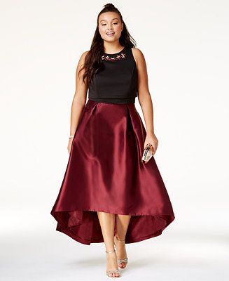City Chic Trendy Plus Size Embellished High-Low Dress ...