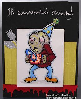 Frankie helps craft toni m maddox handmade zombie birthday card frankie helps craft toni m maddox handmade zombie birthday card coloring spectrum bookmarktalkfo Images