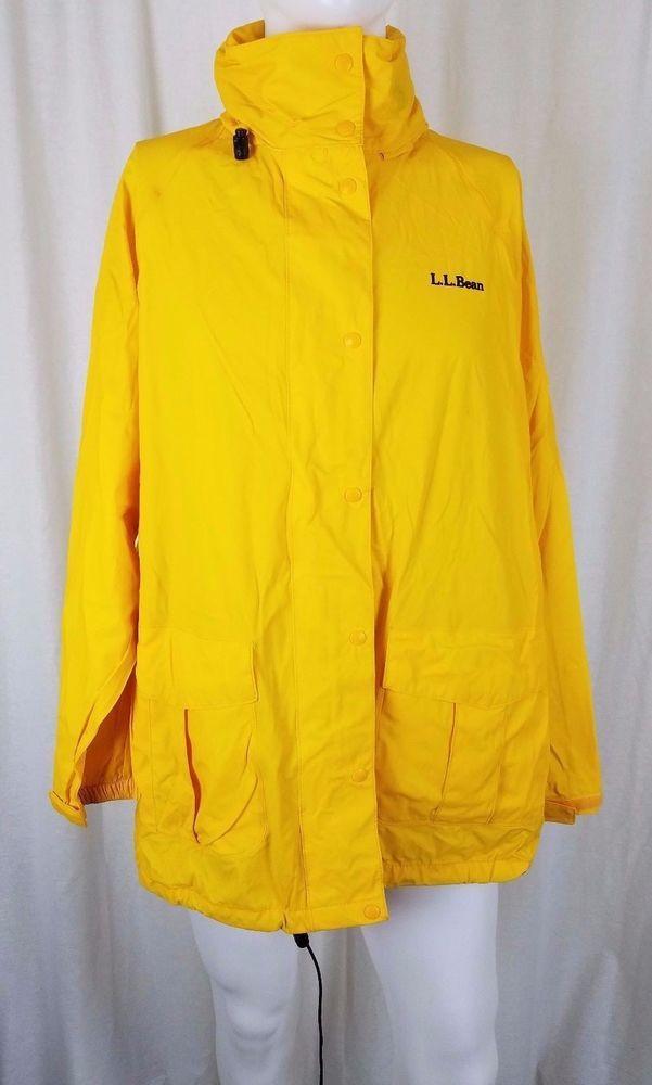 9ecab366273d3 LL Bean Maine Guide Packable Zip Pouch Rain All Weather Jacket Womens XL  Yellow  LLBean  Raincoat  Outdoor