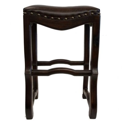 Ivan Brown Leather Old World Bar Stool Bar Stools Leather Bar Stools Round Back Dining Chairs