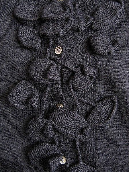 "Design Detail, Mina Perhonen | crocheted ""lily bells"" embellishing the front of a cardigan"