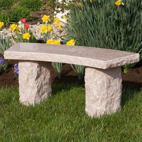 Curved Natural Granite Bench Outdoor Outdoor Stone Outdoor