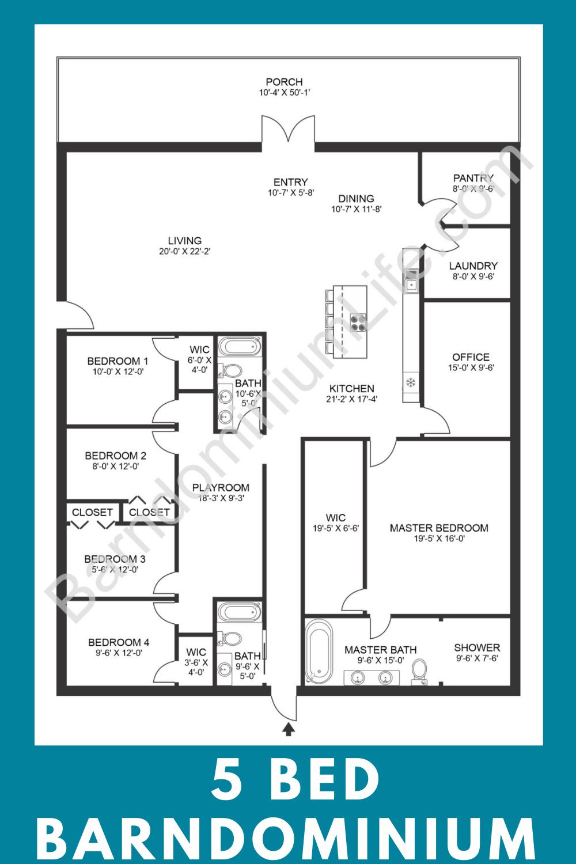 The Seven Best 4 Bedroom Barndominium Floor Plans With Pictures In 2020 Barndominium Floor Plans Bedroom Floor Plans Metal House Plans