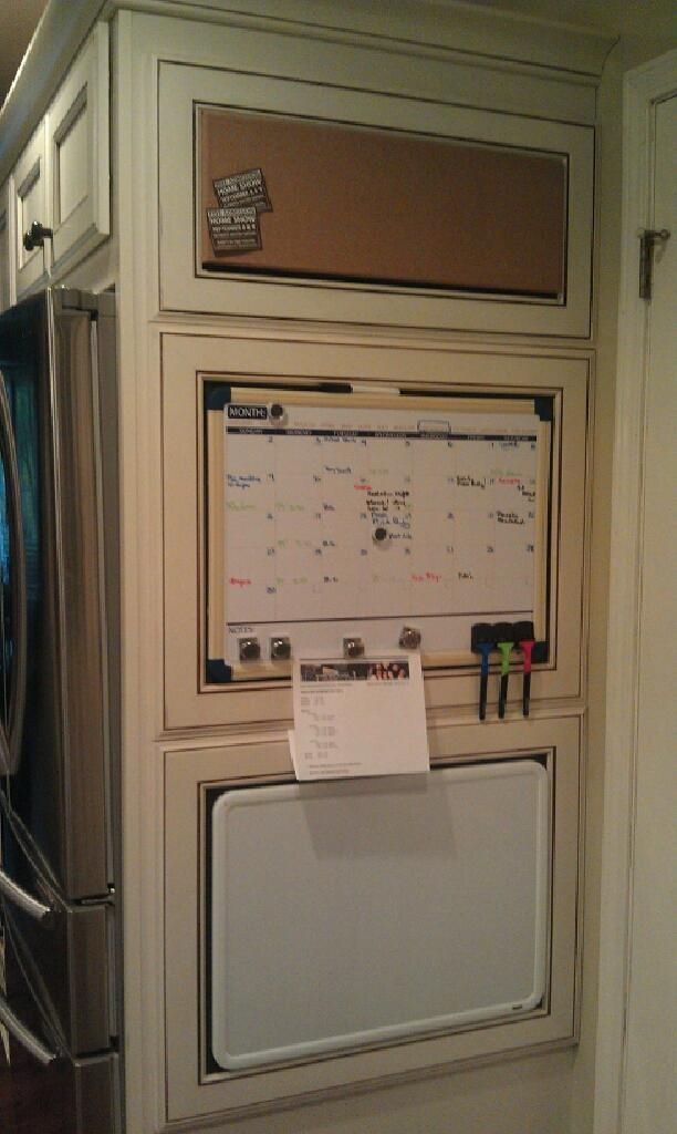 Message Center Made From Cabinet Doors Great Idea To Cover Fridge Panel And Improve Communication