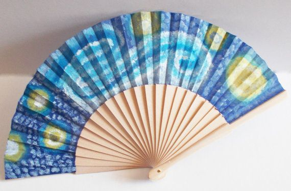 handpainted fan cotton fabric and wood with non by mademeathens
