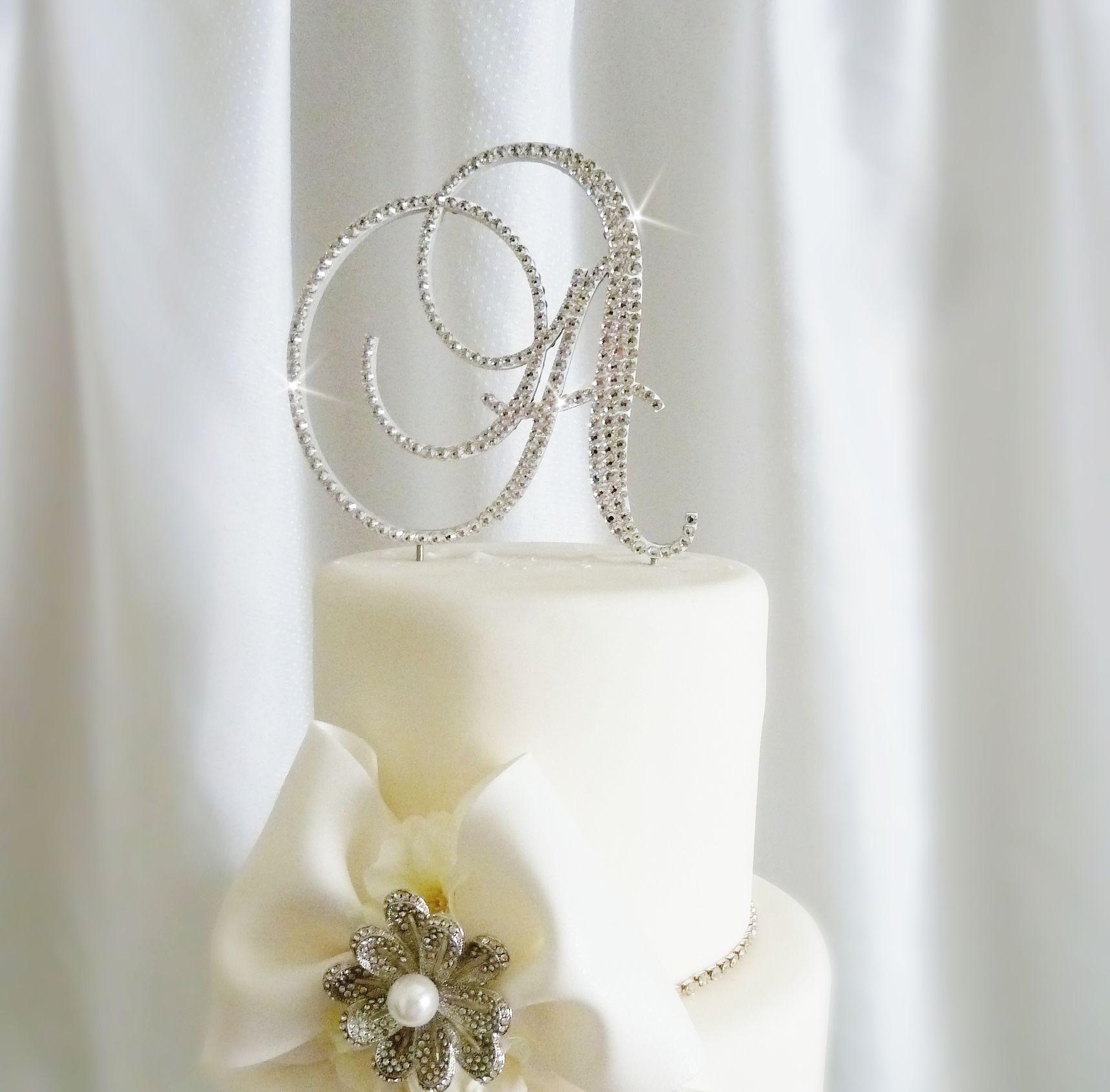 Crystal Monogram Wedding Cake Toppers | crystal cake topper brush ...