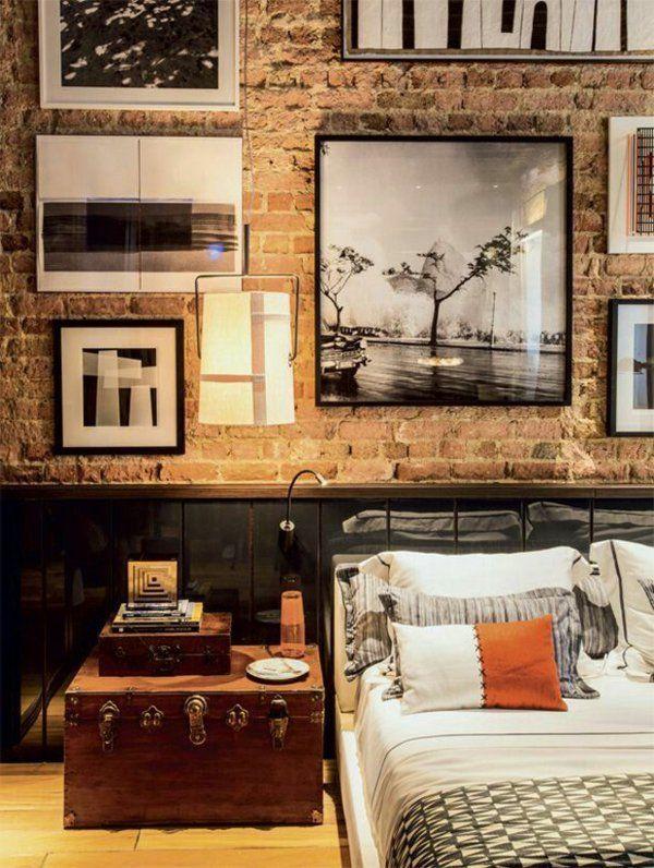 schlafzimmer einrichtungsideen bilder ziegelwand nachttisch
