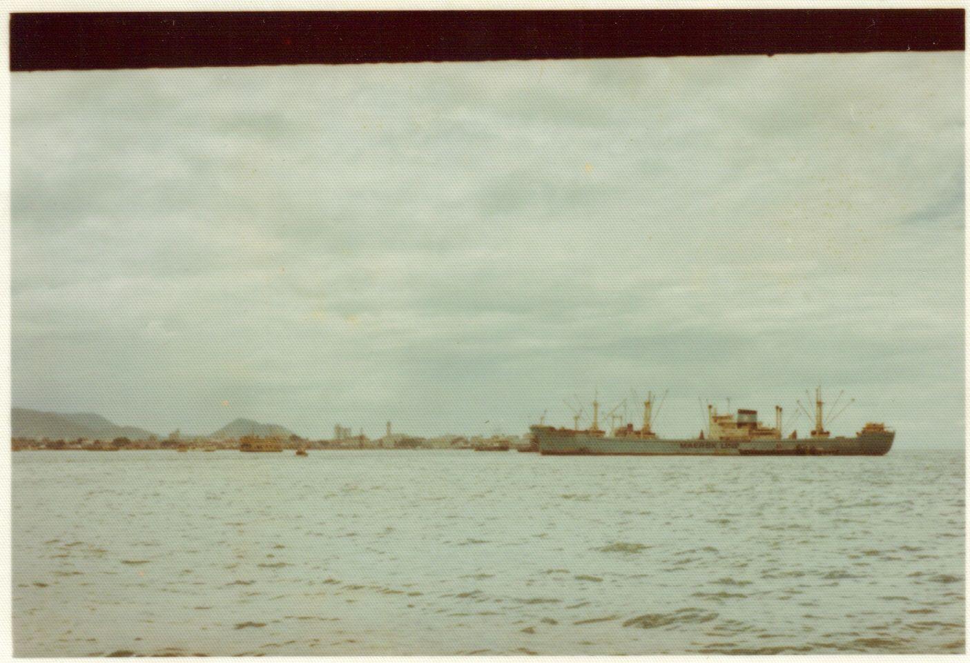 ship in Penang harbor, 1974.