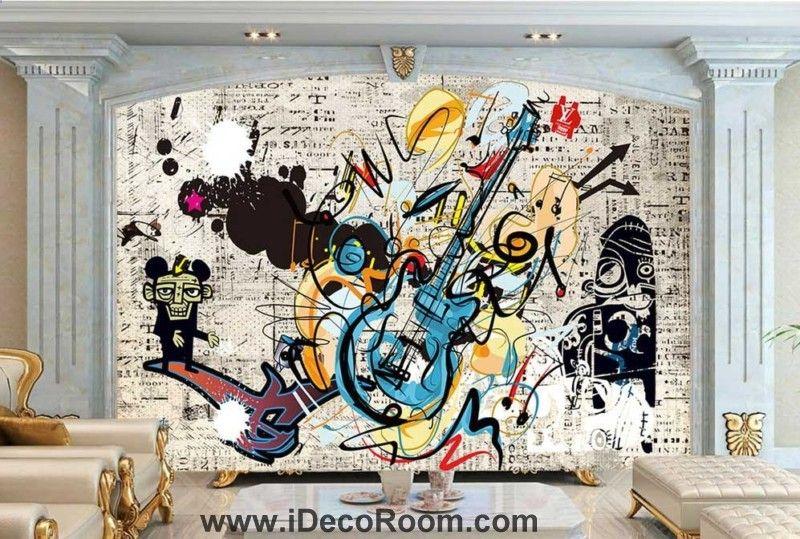Grafikdesign von Gitarre und Affe Kunst Wandtapeten Decals druckt