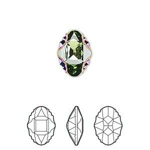 Faceted oval tribe rhinestone peridot scarabaeus green Z foil back