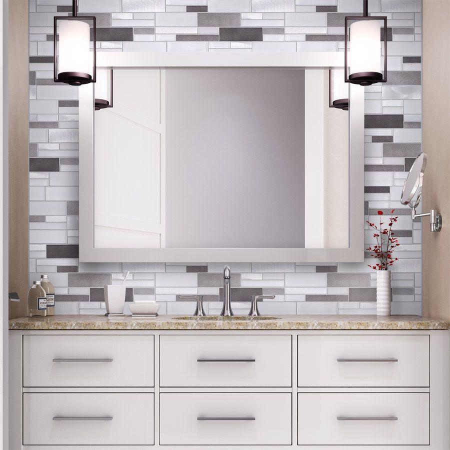 Aluminum Glass Tile Backsplash Ice Blend on a bathroom | Bed & Bath ...
