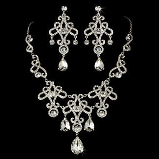Vintage Inspired Silver Clear Bridal Jewelry Set
