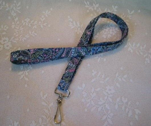 Blue Rose Flower Garden Lanyard Badge ID Holder