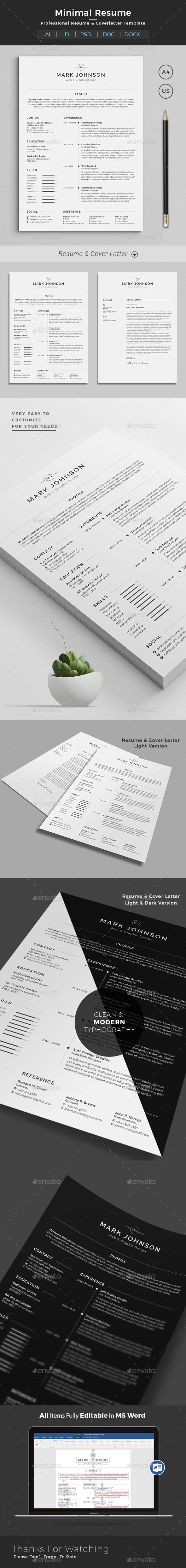 Resume Template PSD, InDesign INDD, AI A4 & US Letter