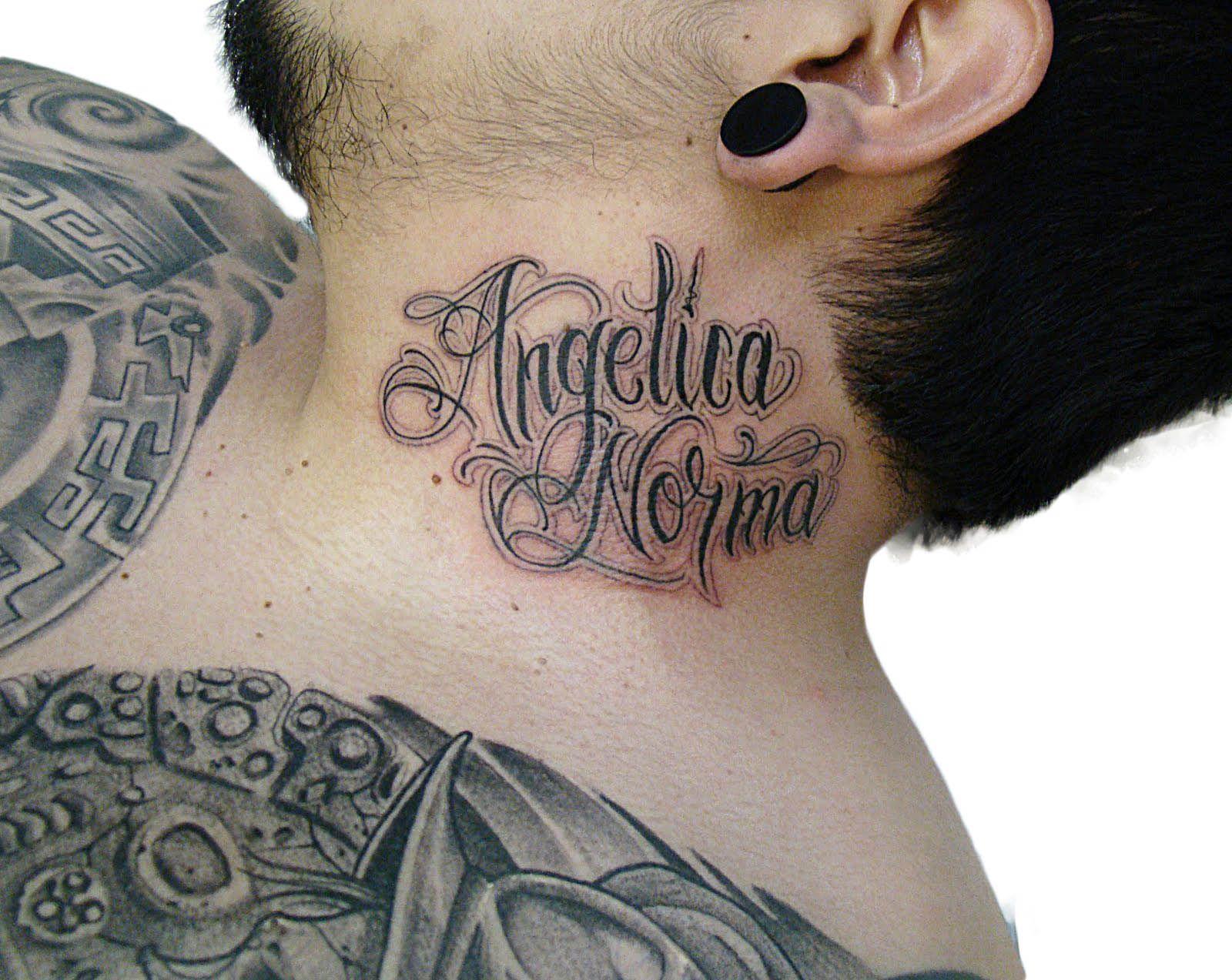 Tattoo Fonts Tattoo Ideas Store Name Tattoos On Neck Tattoo Lettering Neck Tattoo